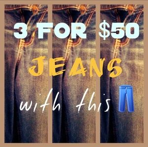 Add 3 👖 marked items to bundle & send $50 offer